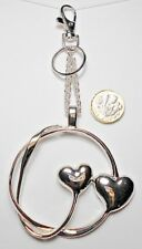 Large Silver double hearts bag charm 16cm total length