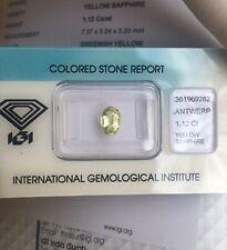 1.12ct UNTREATED Ceylon Yellow Green Sapphire IGI CERTIFIED Oval Cut Sri Lanka
