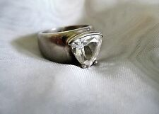 Vintage Solid Sterling Silver .925 Signed CZ Solitaire Ring Size 5