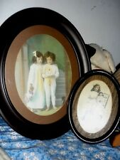 2 Antique Victorian pictures of girls holding dolls * German Bisque doll