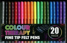 Colour Therapy Fine Tip Felt Pens 20 Pack, Ideal for Colouring Books Adults Kids