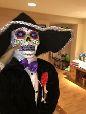 Halloween Animated Skeleton With Sombrero Lights Up Sound