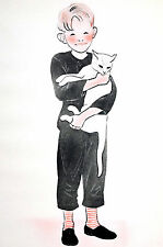 Newberry YOUNG BOY HOLDING WHITE SIAMESE 1936 Cat Illustration Art Print Matted