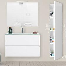 Mobile bagno 80 cm sospeso bianco laccato con 2 cassetti colonna e specchiera