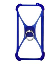 New listing Universal silicon cell phone case with Ring Grip Holder - Blue Color