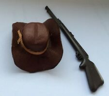 Dark Brown Cowboy Hat / Rifle, Dolls House Miniature 1.12 Scale, Real Leather