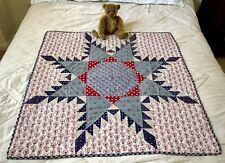 Vintage Hand Stitched Patriotic Star Crib Quilt