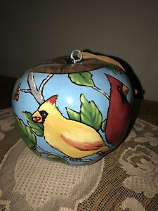 """Hand Painted """"Cardinals"""" Gourd Birdhouse - By Mary Barnhart NEVER Used New"""
