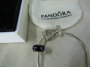 Authentic Sterling Silver Pandora Bracelet w/ 3 Charms present gift cat purple