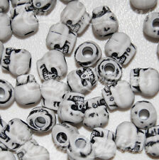 50 White Skull Pony Beads for Kandi Rave Paracord Craft Day of the Dead Gothic
