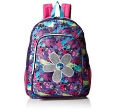 Trailmaker Big Girls BookBag BackPack Pink Silver Purple Flower Front Pocket