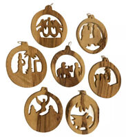 Lot 7 Wooden Nativity Christmas Ornaments Hand Carved Wood