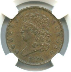 1834 Classic Head Half Cent, NGC AU50