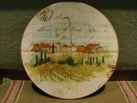 "Williams Sonoma Ceramic Cheese Platter Made in Italy Tuscan Scene M.Lange 13""dia"