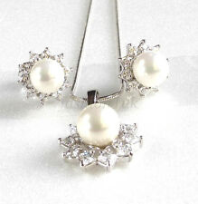 Women White Gold Plated 8mm White Shell Pearl Stud Earrings Necklace Set Gift