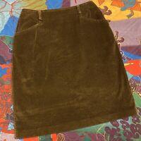 Vintage 90s Corduroy Skirt Womens Size 10 Brown Modern Essentials Retro Zip