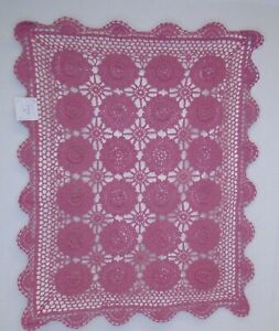 "Dusty Rose Pink Crochet Floral Boho Shabby Cottage Cotton PIllow Sham 21x27"" New"