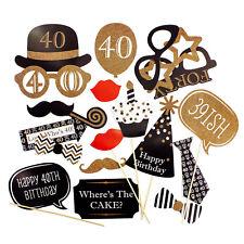 20 Fotorequisiten Fotoaccessoires Foto Booth 40. Geburtstag Feier Party Masken