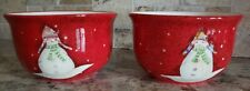 Sakura Snowmates By Debbie Taylor Kerman Set Of 2 Snowman Holiday Bowls 6 In Euc