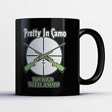 Hunting Coffee Mug - Wicked With Ammo - Adorable 11 oz Black Ceramic Tea Cup - C