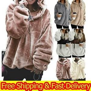 Damen Kapuzenpullover Teddyfell Fleece Pulli Kapuzenjacke Hoodie Sweater Jacken