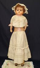 """Large Antique German Papier-Mache Doll w/ Antique Clothes """"Patent Washable"""""""