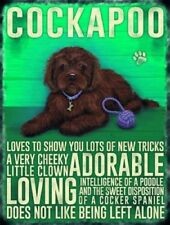 Metal Wall Kitchen Sign Plaque Brown Cockapoo Dog Puppies Lovers Gift