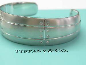 Tiffany & Co 18Kt Streamerica Diamond Bangle Cuff White Gold .32CT