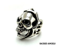 Men's Silver  Skull Ring With Black Diamonds by Sacred Angels