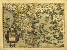 Greece in 1570 - reproduction of a old map by Abraham Ortelius