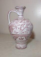antique handmade painted Portuguese majolica pottery jug pitcher vase ewer