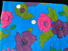 One of a Kind 2+ Yds x 40 Vintage Velvet  Fabric Vivid MOD Flower Power Floral