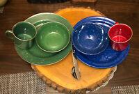2 sets of VTG Speckled Enameled Camping Dishes Cup Plate Bowl & 1 set utensils