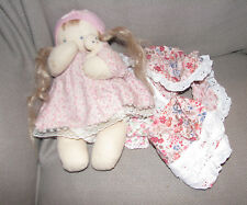 Jan Shackelford Soft Sculpture Stuffed Cloth Baby Girl Doll 10""