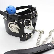 Blue Bondage Neck Collar Choker Ball Gag w/ Leash Restraint Sexy Slave Fetish