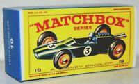 Matchbox Lesney No 19 LOTUS RACING CAR Empty Repro E style Box