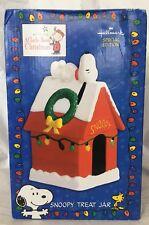 Snoopy Treat Cookie Jar Hallmark Special Edition Holiday Doghouse Peanuts  NIB