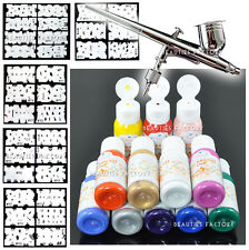 BF Pro Airbrush makeup Kit Full system inc Stencil, Gun + Airbrush Paints 235