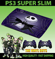 PLAYSTATION PS3 SUPER SLIM Nightmare Before Christmas SKIN STICKER & 2 PAD SKIN