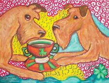 IRISH TERRIER Drinking Coffee Art Print 8 x 10 Saint Patricks Day Shamrock KSams