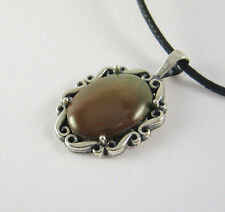 Brown Turquoise Pendant Necklace .925 Sterling Silver USA Made Adjustable