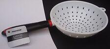 "KITCHEN COLANDER Strainer White Plastic 7"" Basket 5.5"" Handle Pasta Vegetables"