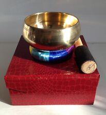 11cm Tibetan Brass Singing Bowl Gift Set - bowl, stick, cushion and carry box
