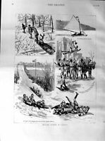 Old Antique Print 1887 Winter Sports Canada Toboggan Montreal Ice-Palace 19th