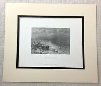 1872 Antique Engraving Aberystwyth Wales Ceredigion Beach Welsh Local History