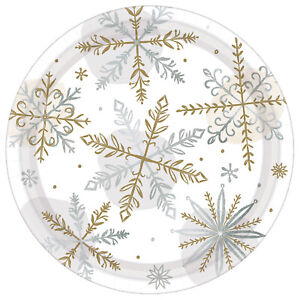 8 x Christmas Party Silver & Gold Snowflake Paper Plates 18cm