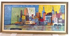 Vintage NY CITYSCAPE ABSTRACT MODERNIST OIL PAINTING Mid Century Modern 1960s