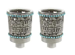 PAIR OF PEWTER OIL CUP Glass 7 CM WITH PALE BLUE STONES Jerusalem holyland
