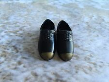 BARBIE'S KEN  DOLL SQUISHY BLACK SLIP ON LACE UP SHOES W GOLD TIPS