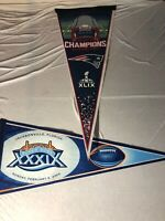 """Lot of two Super Bowl Pennants - New England Patriots Related XLIX & XXXIX 30"""""""
